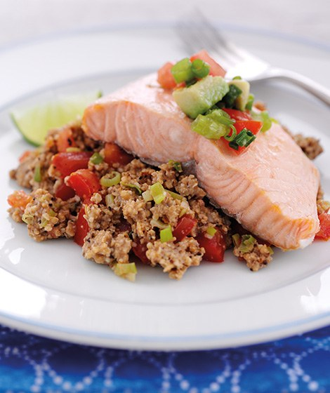 Home Smoked Salmon Oat Salad & Zesty Salsa Recipe