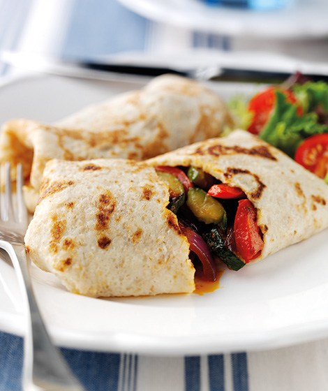 Oat Pancakes with Mediterranean Vegetables