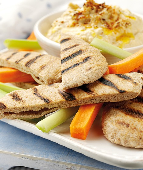 Whole Wheat Pita Bread with Hummus Recipe