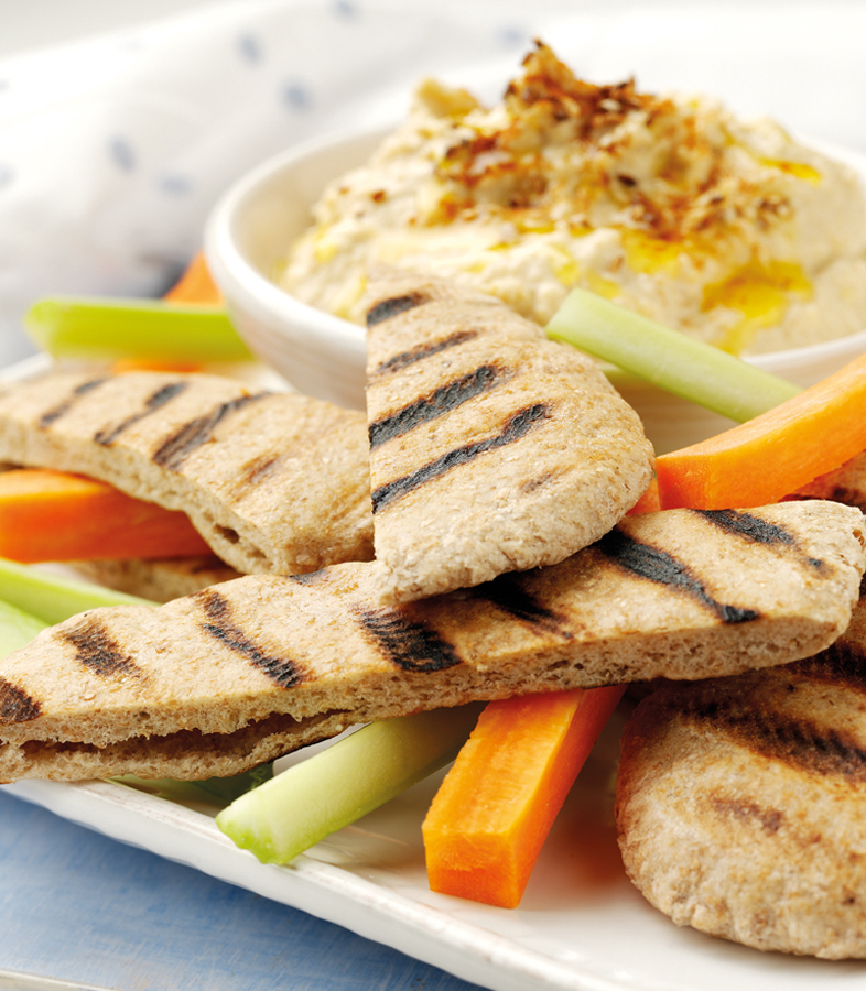 Griddled Wholemeal Pitta with Homemade Hummus